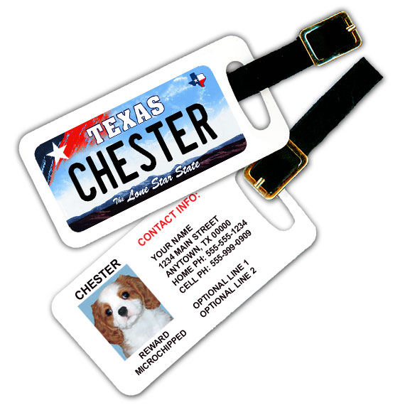 Texas License Plate Pet Luggage Tag
