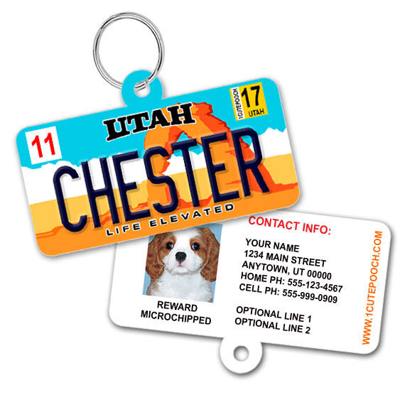 Utah License Plate Pet ID Tag