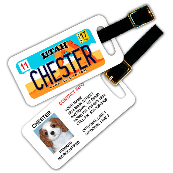 Utah License Plate Pet Luggage Tag