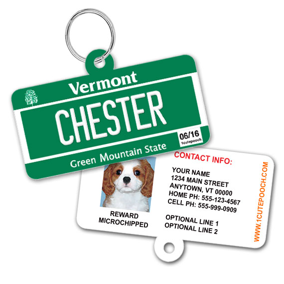Vermont License Plate Pet ID Tag