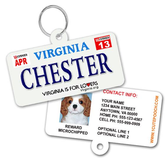 Virginia License Plate Pet ID Tag