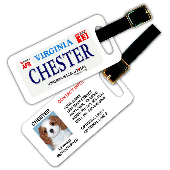 Virginia License Plate Pet Luggage Tag