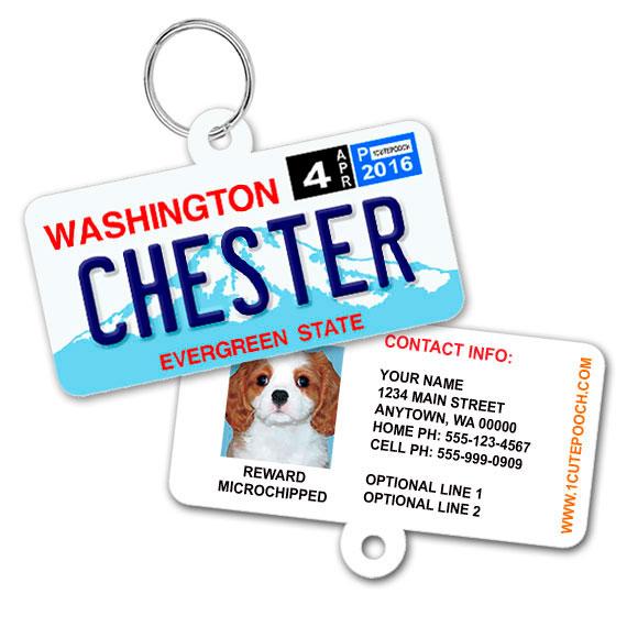 Washington License Plate Pet ID Tag