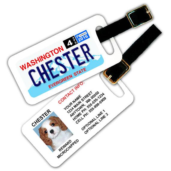 Washington License Plate Pet Luggage Tag