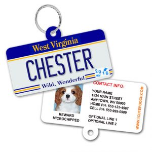 West Virginia License Plate Pet ID Tag