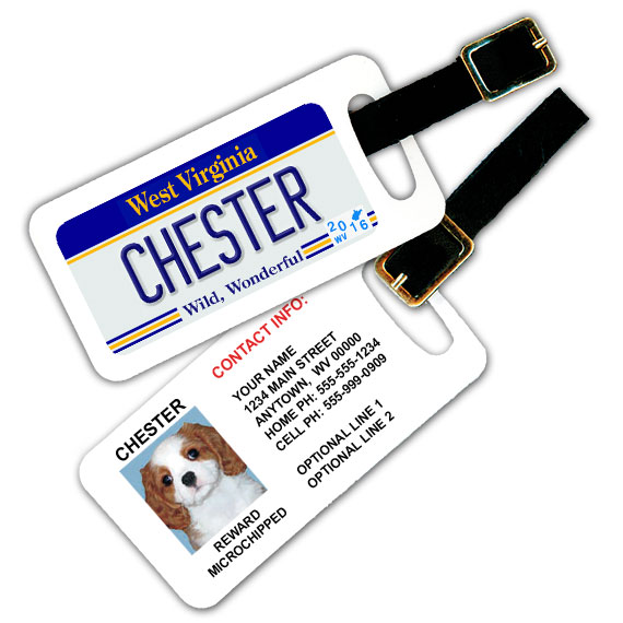West Virginia License Plate Pet Luggage Tag