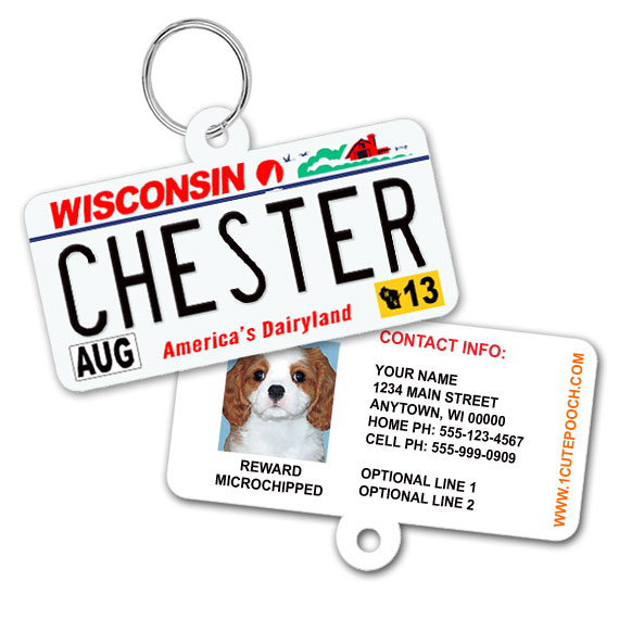 Wisconsin License Plate Pet ID Tag