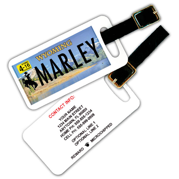 Wyoming License Plate Pet Luggage Tag