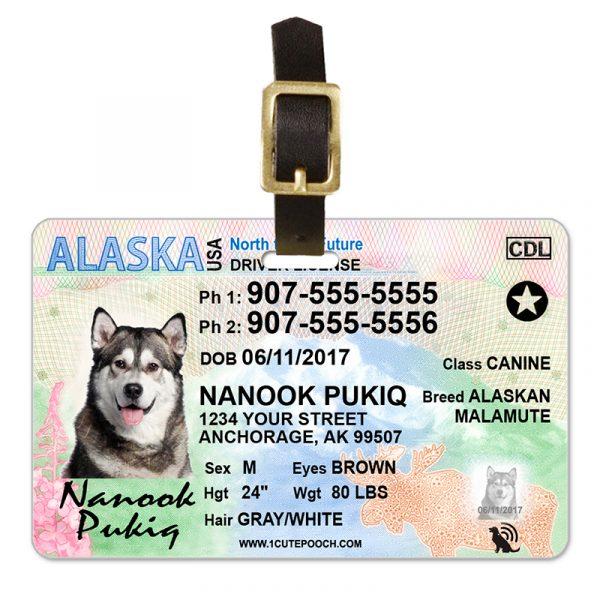 Alaska Driver License Pet Luggage Tag