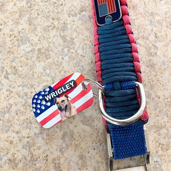 American Flag Pet ID Tag Customer Photo