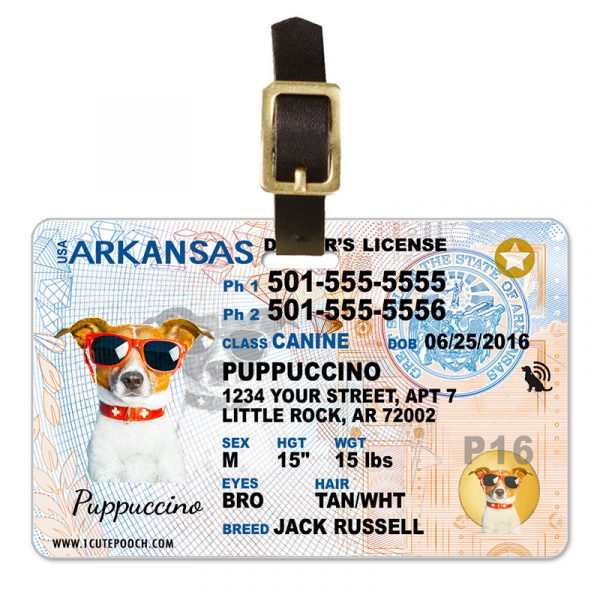 Arkansas Pet Driver License Luggage Tag
