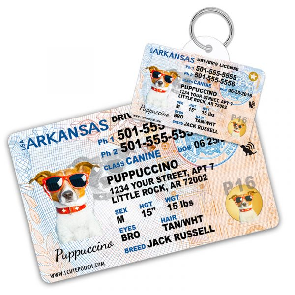 Arkansas Driver License Wallet Card and Pet ID Tag