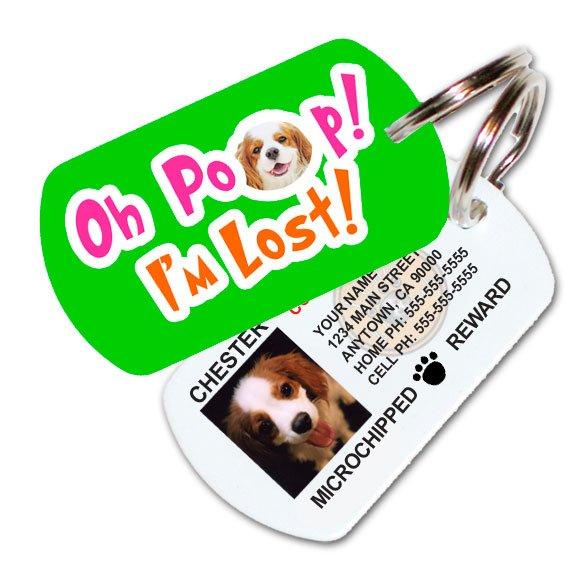 Oh Poop! I'm Lost! Custom Pet ID Tag (Green)