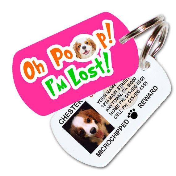 Oh Poop! I'm Lost! Custom Pet ID Tag (Pink)