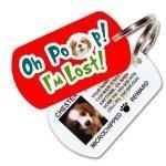 Oh Poop! I'm Lost! Custom Pet ID Tag (Red)