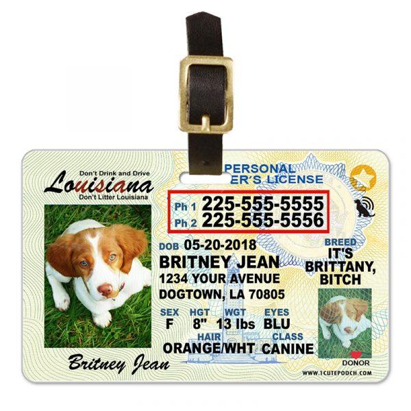 louisiana pet driver license luggage tag 800