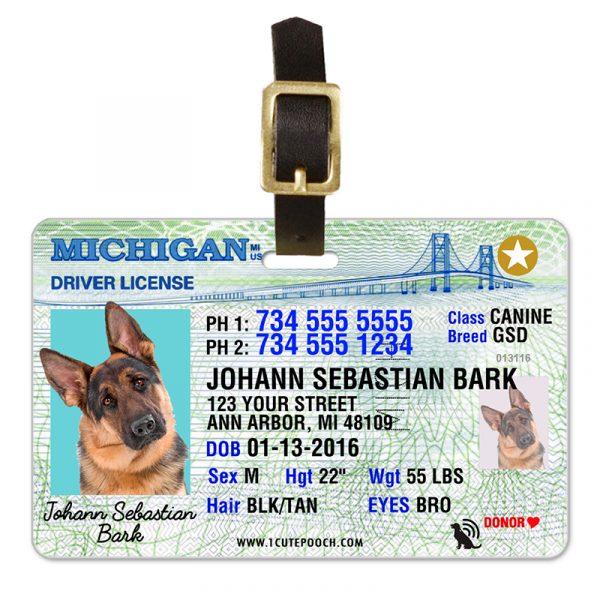 michigan driver license pet luggage tag 800