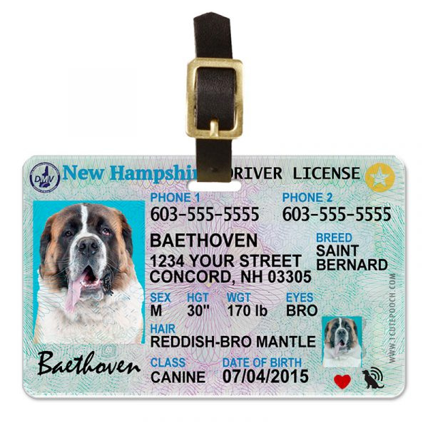 new hampshire driver license pet luggage tag 800