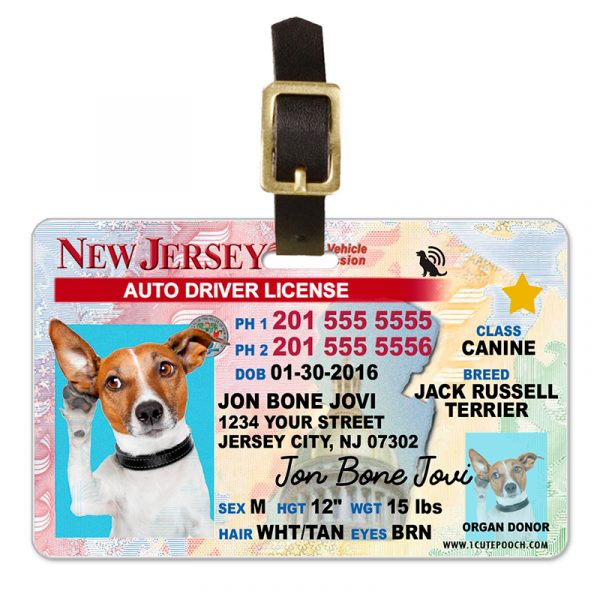 New Jersey Driver License Pet Luggage Tag