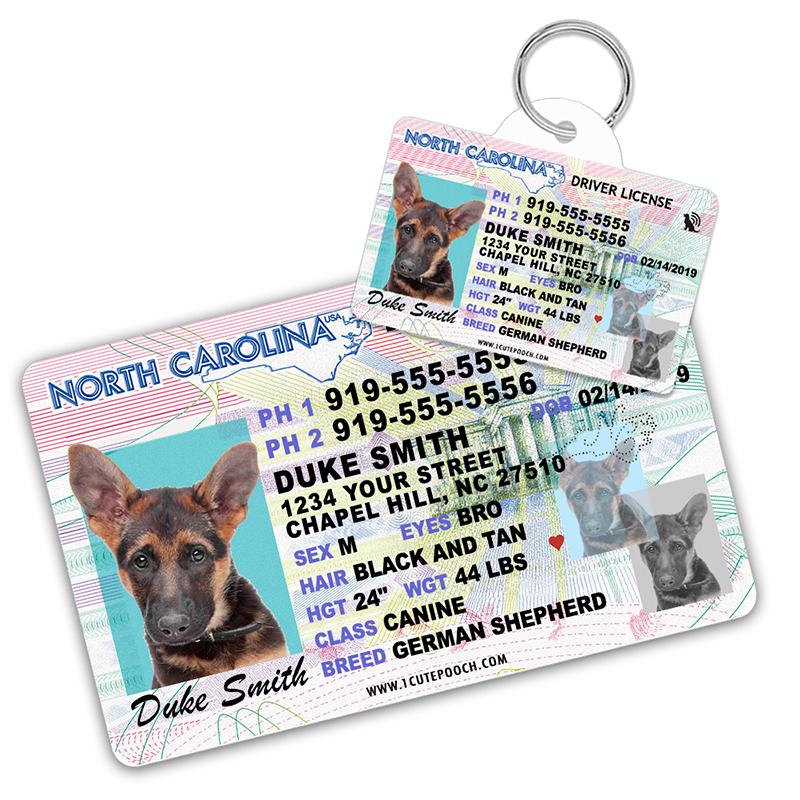 North Carolina Driver License Wallet Card and Pet ID Tag