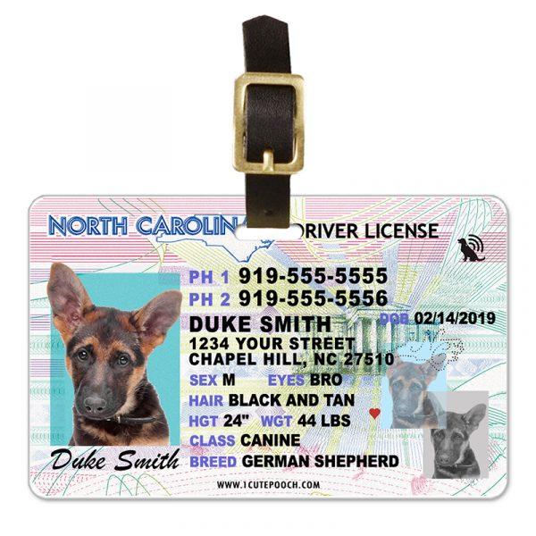 North Carolina Driver License Pet Luggage Tag