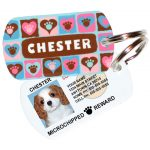 paws on hearts blue pet id tag