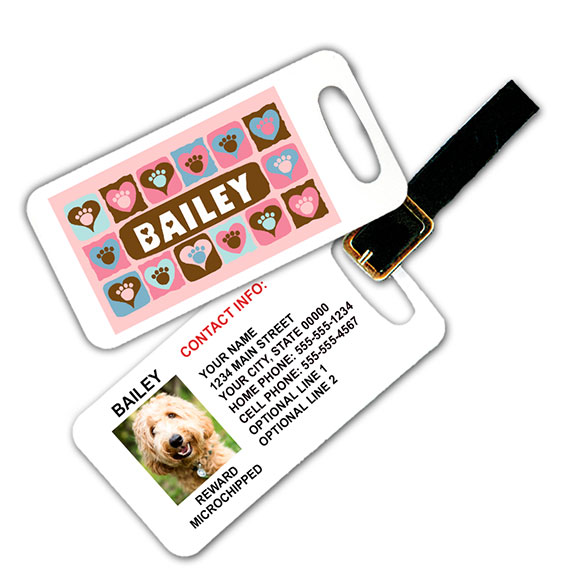 Paws on Hearts Pet Luggage Tag