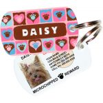 paws on hearts pink pet id tag