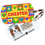 paws on hearts red pet id tag