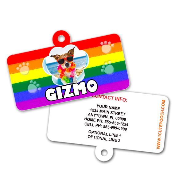 Pride Rainbow Flag Pet ID Tag