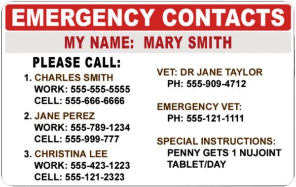 Pet Emergency Card Back