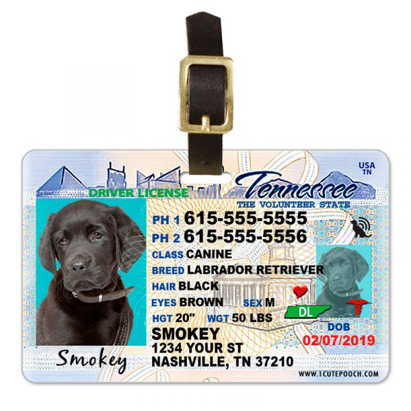 Tennessee Driver License Pet Luggage Tag