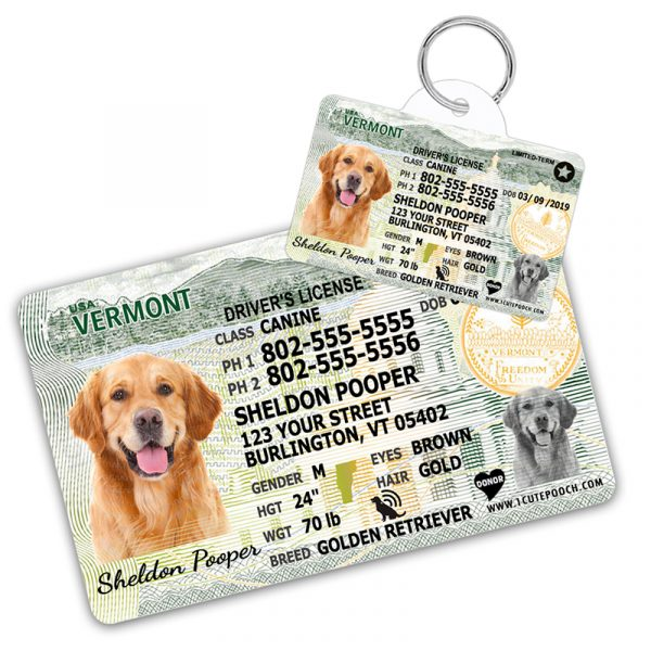 Vermont Driver License Wallet Card and Pet ID Tag