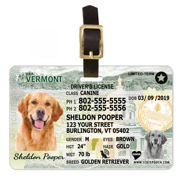 Vermont Driver License Pet Luggage Tag