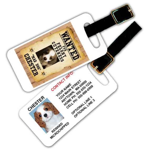 wanted posted luggage tag
