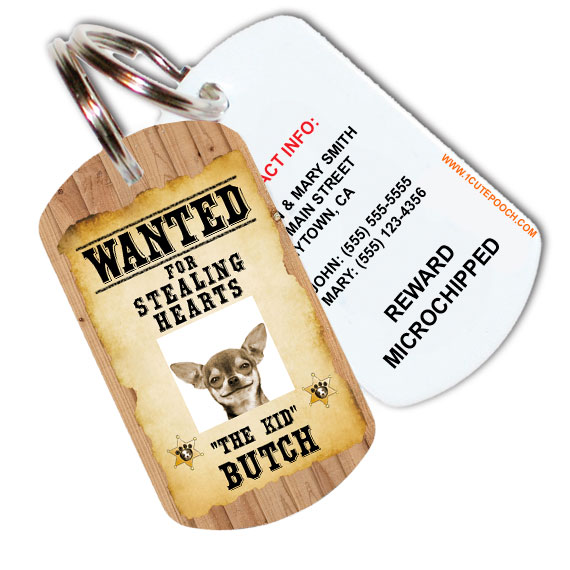 Wanted Poster Pet ID Tag
