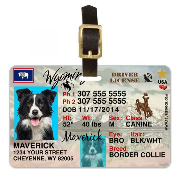 wyoming driver license pet luggage tag 800