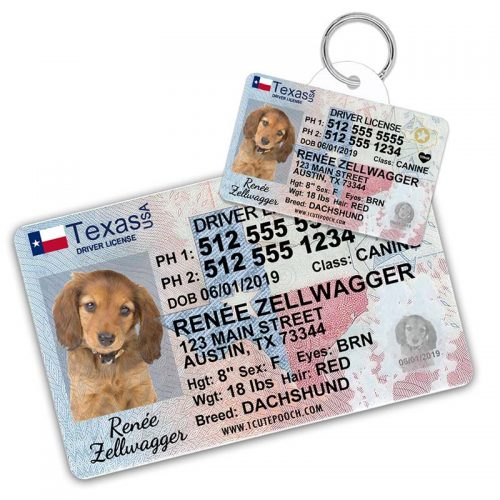 Texas Driver License Pet ID Tag and Wallet Card