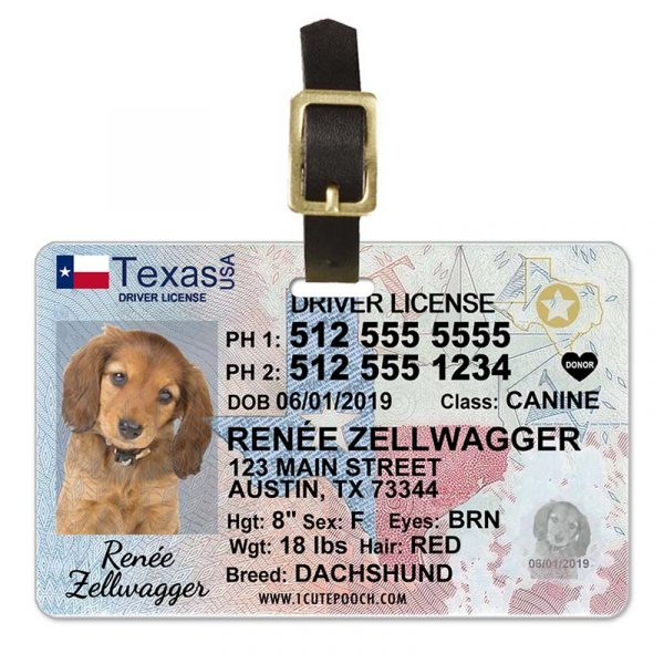 Texas Driver License Pet Luggage Tag