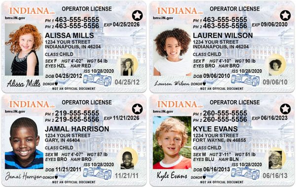 Indiana Kid Driver License