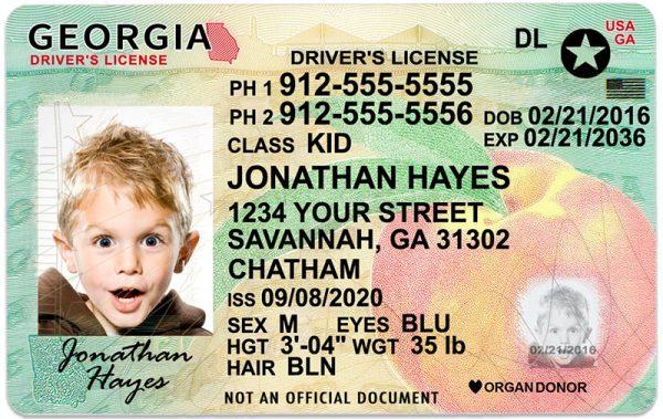 Georgia Kid Driver License