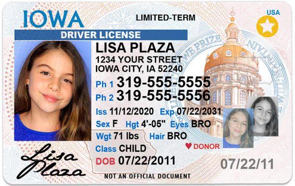 Iowa Kid Driver License