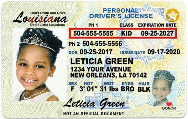 Louisiana Kid Driver License