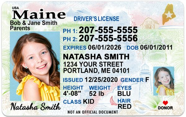 Maine Kid Driver License