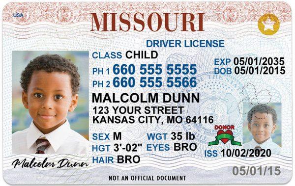 Missouri Kid Driver License
