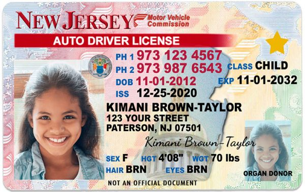 New Jersey Kid Driver License
