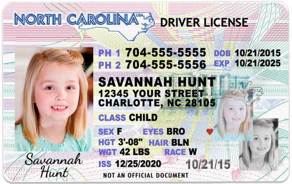 North Carolina Kid Driver License