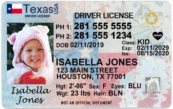 Texas Kid Driver License