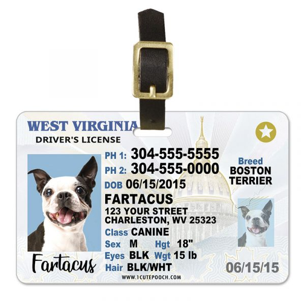 West Virginia Pet Driver License Luggage Tag