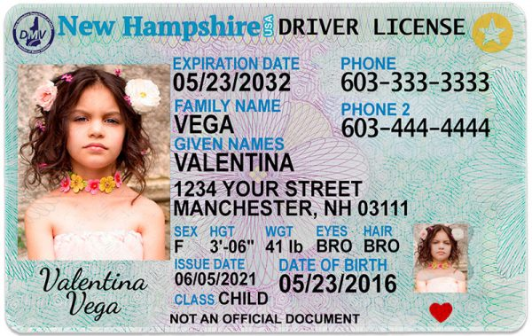New Hampshire Kid Driver License